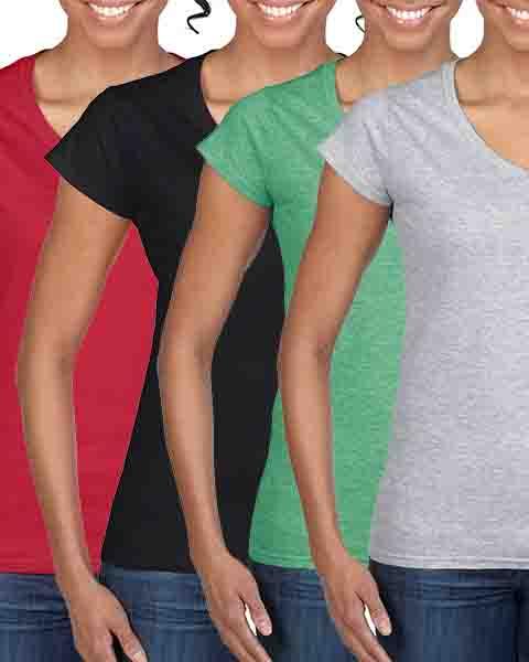 Pachet 4 tricouri Gildan V-Neck